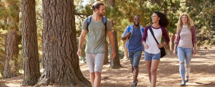 Group Of Young Friends On Hiking Adventure In Countryside